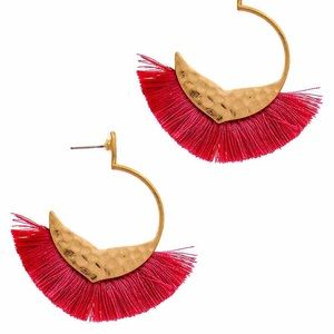 Gold Colored Half Hoop Earrings With Pink Fringe